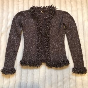 Anthropologie The Girl Who brown fringe cardigan S